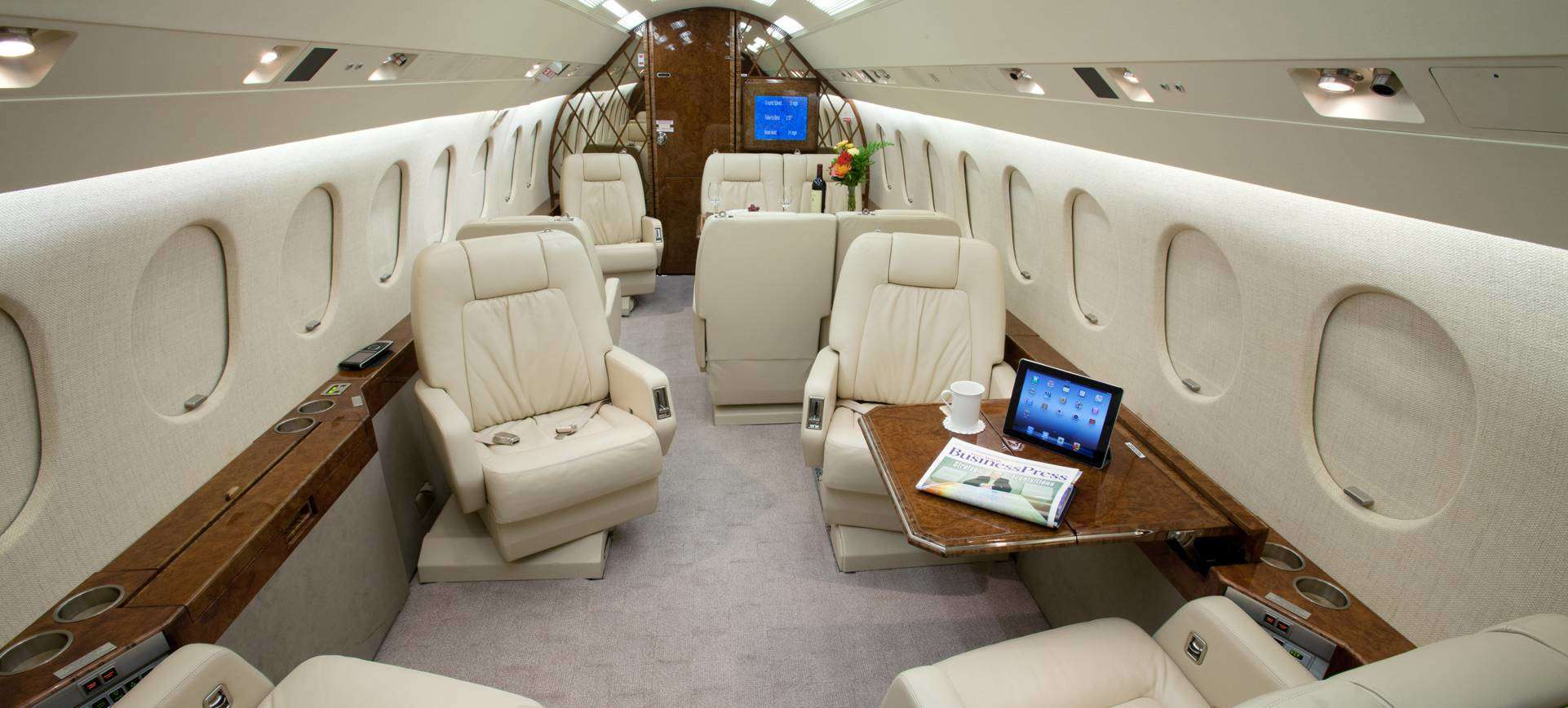 Falcon 2000 seats, carpeting, cabinetry